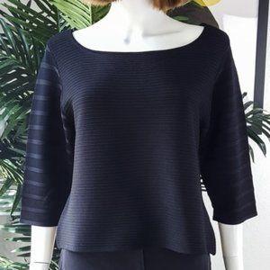 Ivanka Trump Black Ribbed Knit Top 3/4 Sleeve Sz L